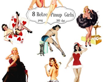 Clip Art:  Pinup Girls Retro   Digital Png Files -   no. 068