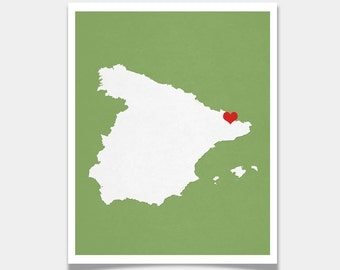 Spain Map Custom Personalized Heart Print Hometown Wall Art Gift Souvenir Madrid Barcelona