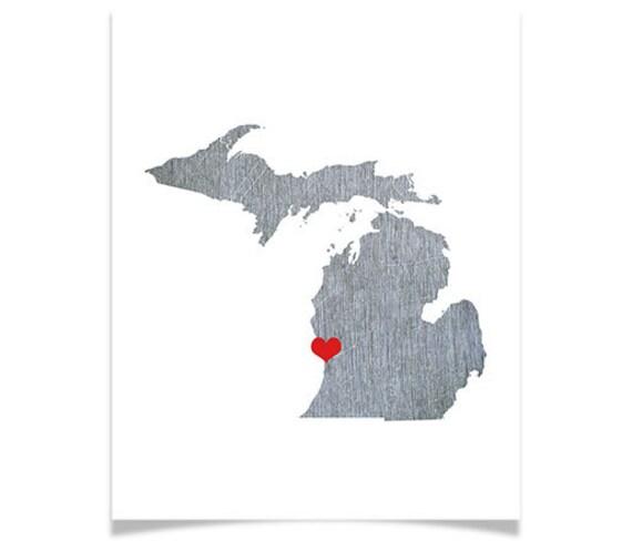 Michigan State Map - Custom Personalized Heart Print - I Love USA - Hometown Wall Art - Gift Souvenir - Detroit Grand Rapids
