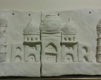 "2 piece clay montage - ""Taj Mahal"""