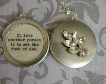 Silver Vintage Jewel Locket Necklace Les Miserables Quote To love another person is to see the face of God ready to ship USA Les Mis
