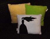 Goth Girl Misery Pillow Applique OOAK Cushion Geek Chic Retro 'Pillowettes'