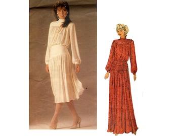 Vintage 1980s Vogue long evening dress pattern, midi dirndl skirt, Vogue 1591, John Anthony designer, Size 10, bust 32 33, UNCUT, label