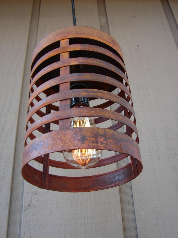 Rusty Steel Rustic Industrial Pendant Light
