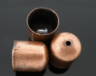 100 Bead Caps - Antique Copper - End Tip - 10X11mm - Ships IMMEDIATELY from California - F132a