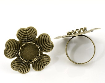 Cabochon Ring Bases -  Adjustable - 18.3mm US 8 -  (Holds 12mm) 3pcs - Ships IMMEDIATELY from Caifornia - A260