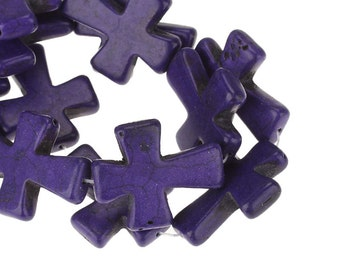 11 Purple Crosses - WHOLESALE - Turquoise Beads - 37x31mm - 1 Strand -  Ships IMMEDIATELY  from California - B981a