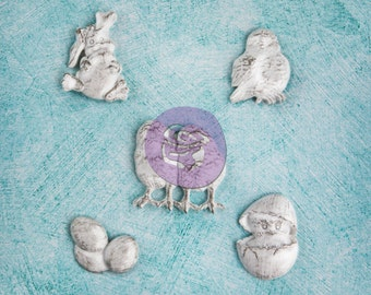 SALE Prima Easter Resin Treasures Shabby Chic (NEW 2014) - Molded Resin Embellishments - 5pcs