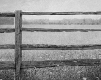 Black and White Photograph, Rustic Picture, Farmhouse Wall Decor, Farm Artwork, Landscape Fine Art Print,  Fence Photograph