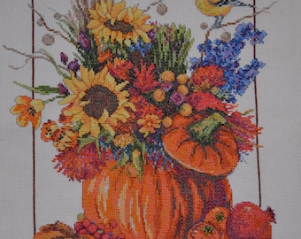 Fall Floral by Janlynn - FINISHED Counted Cross Stitch