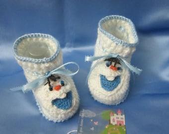 Snowman Baby booties Crochet Baby booties Christmas olaf the Snowman baby booties Crochet frozen slippers Christmas Gift