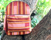 Colorful Tribal Backpack Heavy Canvas and Ethnic Naga Textiles