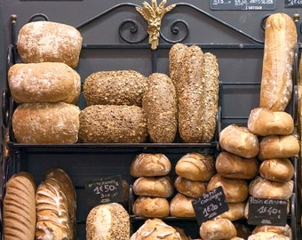 Paris Food Photography -  Bread at Market, Boulengerie, French Home Decor, Large Wall Art