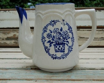 Beautiful 1950's Blue and White Pitcher