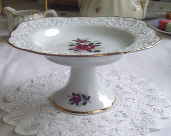 Embossed Square Pedestal Cake Stand - Baccara Roses Framed in Gold - Muffins - Cupcakes - Tarte - 1960s Vintage - Schumann - Arzberg Germany