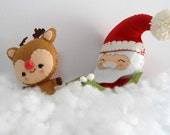 Christmas Ornaments set of 2, Santa in his sleigh and his helper Rudolf the reindeer, felt set,Christmas decorations,gift idea,ready to ship