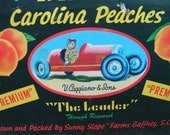 60s Full Wood Box Crate Sunny Slope Brand Carolina Peaches Great Graphics for REPURPOSE