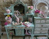 Dollhouse Miniature French Shabby Chic Hutch Cabinet with All Accessories On It Included