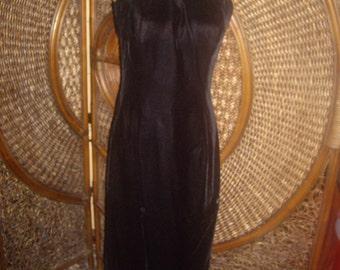 Sale Black corset velvet long shapely body hugging strapless dress sm- med