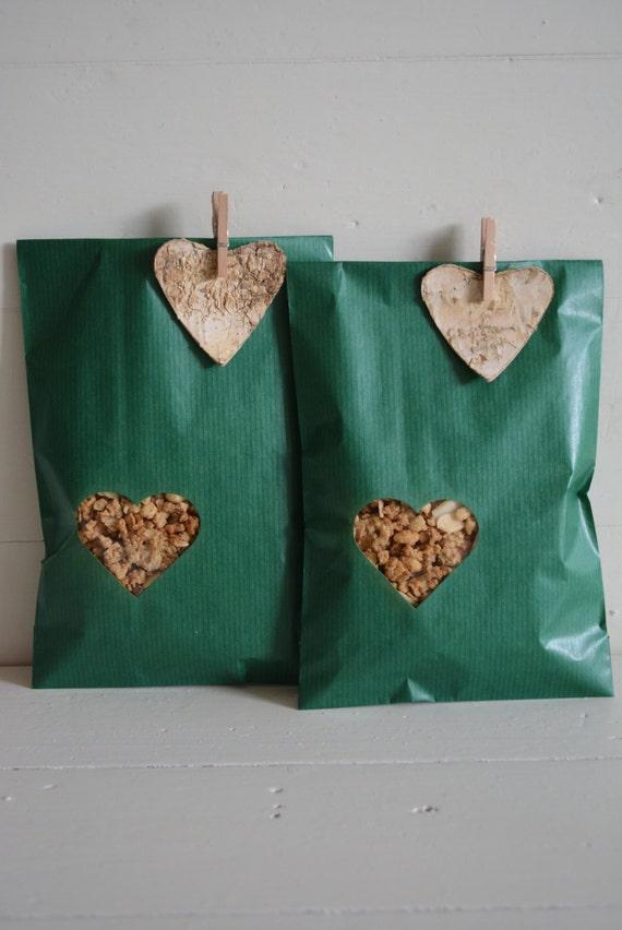 Bundel van 100 groene kraft papieren zakjes met klein hart for Papieren kraft zakjes