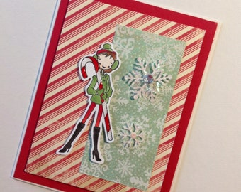 Card - Holiday - Candy Cane Girl