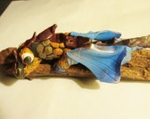 ADORABLE Baby Dragon on a log polymer clay fantasy creature