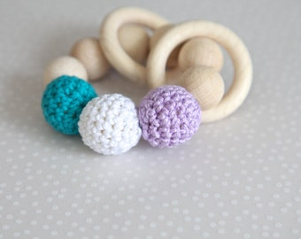 Teething toy with crochet lavender, white, petrol/ teal  wooden beads and 2 wooden rings. Wooden rattle. Gift for baby.