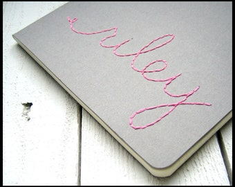 custom Moleskine | custom lined journal | Embroidered Name Journal | soft pink on heather grey | ruled pages | made to order