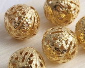 "Gold Filigree beads, gold plated, cage balls, round, 12 mm / 0.47 "", metal findings, jewelry supplies, earrings findings,"