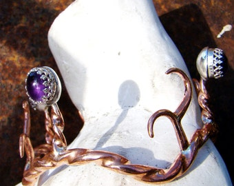 Stagspell--Legendary Bracelet of Flidais of The Tuatha de Danaann--Copper Amethyst & Sterling Silver