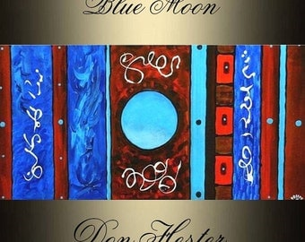 """XLarge abstract  Original  Painting 48"""" oil on canvas abstract """"Blue Moon"""",  HesterPainting by Don Hester"""