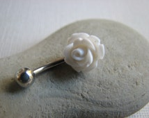 White Flower Belly Button Jewelry, Non Dangle Belly Bar, Rose Bellybutton Ring Silver or Gold, Bridal Navel Jewelry