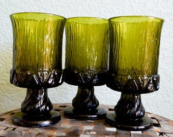 1960s SET of THREE 3 green glass wine GOBLETS