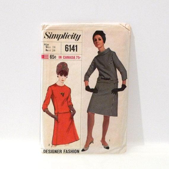 Mod Suit Pattern Vintage Simplicity 6141 A line Skirt bias collar two piece suit dress 1960s Designer Fashion suit Bust 34 Minimal Hipster