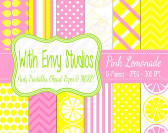 SALE  Pink and Yellow Digital Scrapbook Paper - Pink Lemonade Digital Paper - Pink and Yellow Patterned Paper - Commercial Use
