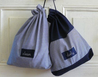 Travel laundry bag, bags for clean and dirty things, laundry bag, thin navy blue stripes