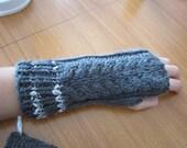 hand knitted handmade fingerless gloves - glitter trimmed gray grey