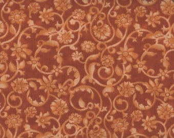 """EOB Clearance, 15"""" Floral Fabric, 54"""" Wide, Tonal Scroll, Orange Fabric, Floral Fabric, Orange Floral Fabric, 05092"""