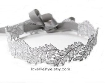 Silver Leaf  Metallic Lace with Gray Satin Sash / Bridal Sash, Bridesmaid Sash , Head Tie /SH-06
