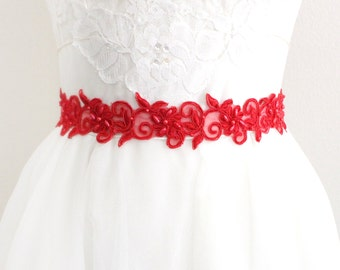 Red Beaded Lace with Red Ribbon Sash or Headband, Bridal Sash, Bridesmaid Sash, Flower Girl Sash, SH-43