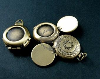 5pcs 16mm round bezel tray setting flower engraved brass antiqued bronze vintage style fold photo locket pendant charm 1111047