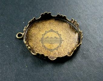 5pcs 25mm setting size vintage style bronze crown round pendant charm bezel base DIY supplies 1411073