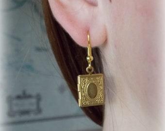 SALE  Book Locket Steampunk Earings