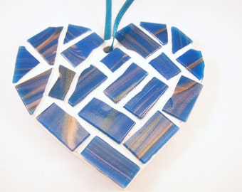 Blue and Gold Hanging Mosaic Heart