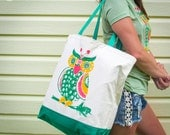 Large Grocery Tote Bag with neon fruit owl watermelon, grapes, strawberry