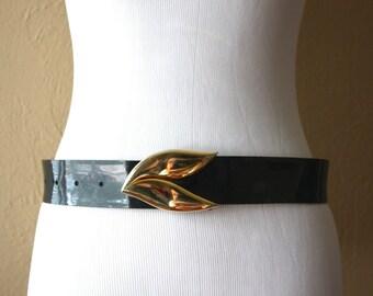 Vintage Faux Leather Belt with Gold Leaf Buckle