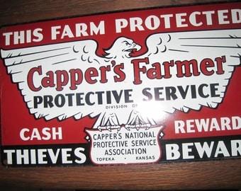 Vintage 1950s Capper's Farmer Sign This Farm Protected-Cash Rewards-Thieves Beware