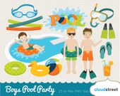 buy 2 get 1 free boys pool party clip art / pool clipart / vector boy pool party clipart / snorkel goggle floatie /commercial use ok