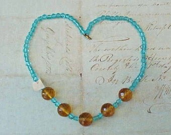 Beautiful Antique Czech Glass Bead Necklace-Earth and Ocean Colors with Original Label