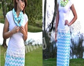 Maxi Skirt with a yoga band zig zag skirt Tiffany Blue Chevron maxi Skirt